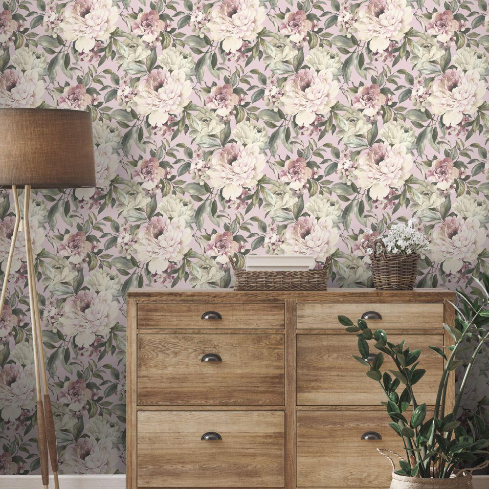Gardenia Wallpaper - Pink - by Albany