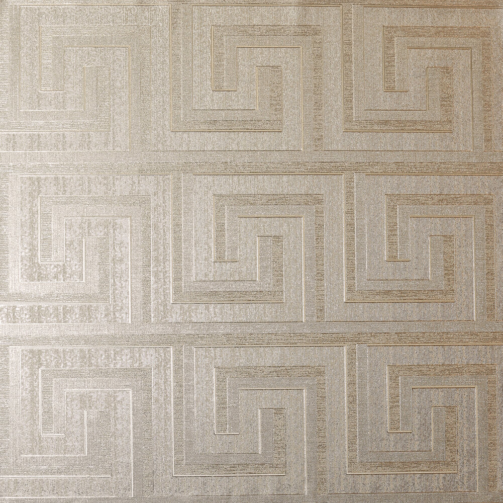Greek Key Foil Wallpaper - Champagne - by Arthouse