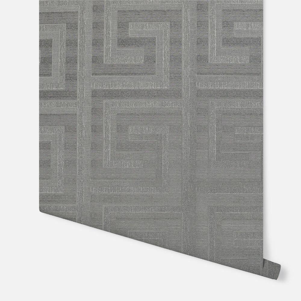 Greek Key Foil Wallpaper - Gunmetal - by Arthouse