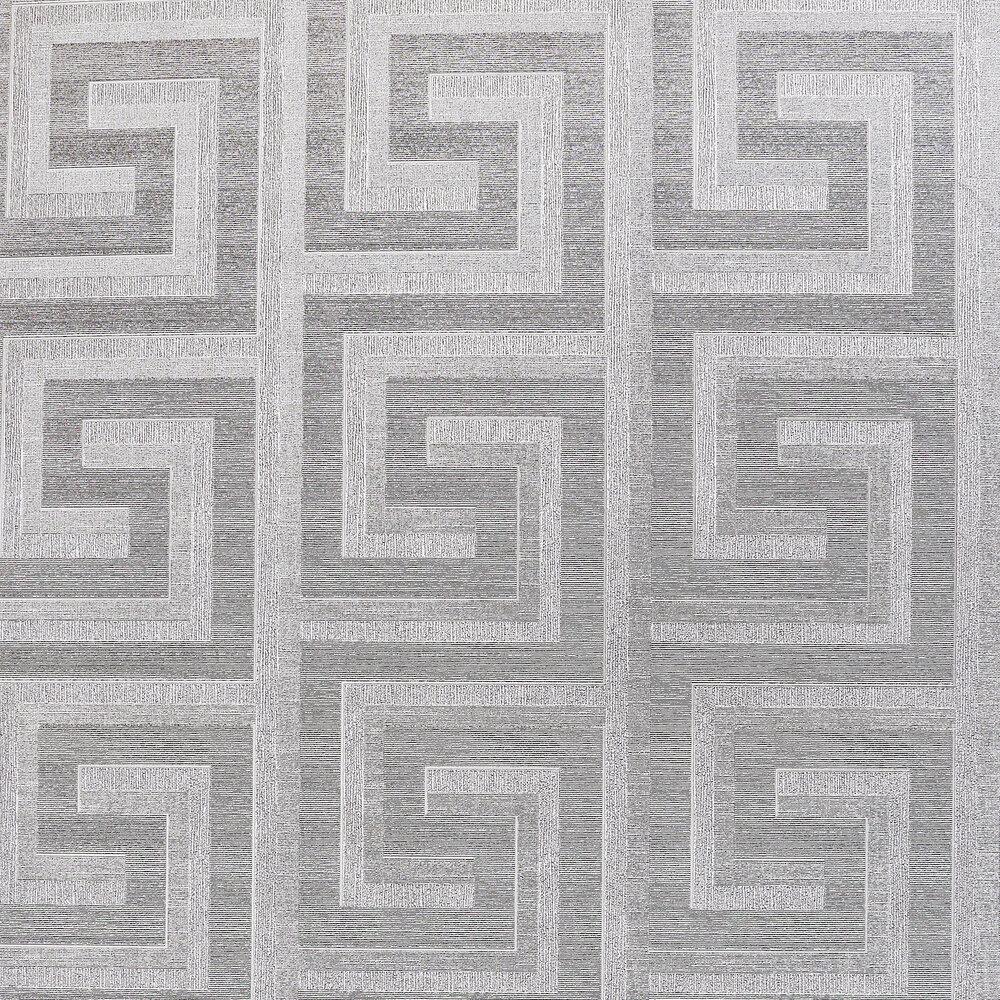 Greek Key Foil Wallpaper - Silver - by Arthouse