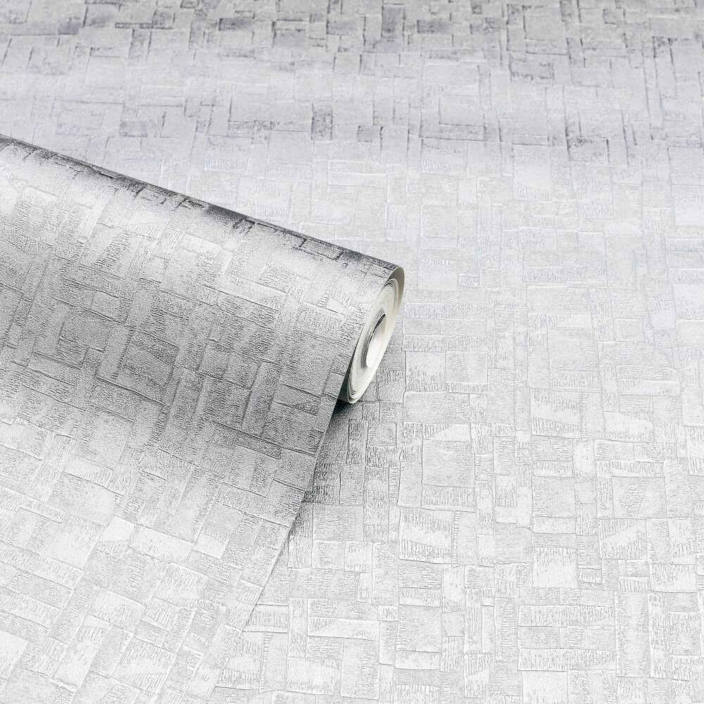 Basalt Texture             Wallpaper - Silver - by Arthouse