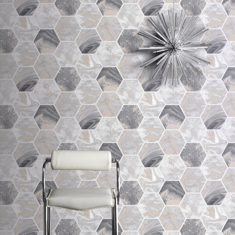 Marbled Hex                   Wallpaper - Charcoal / Rose Gold - by Arthouse