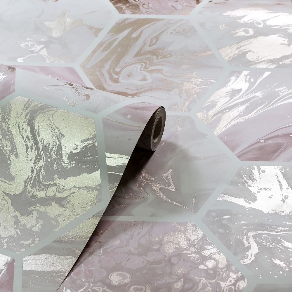 Marbled Hex                   Wallpaper - Pink / Rose Gold - by Arthouse