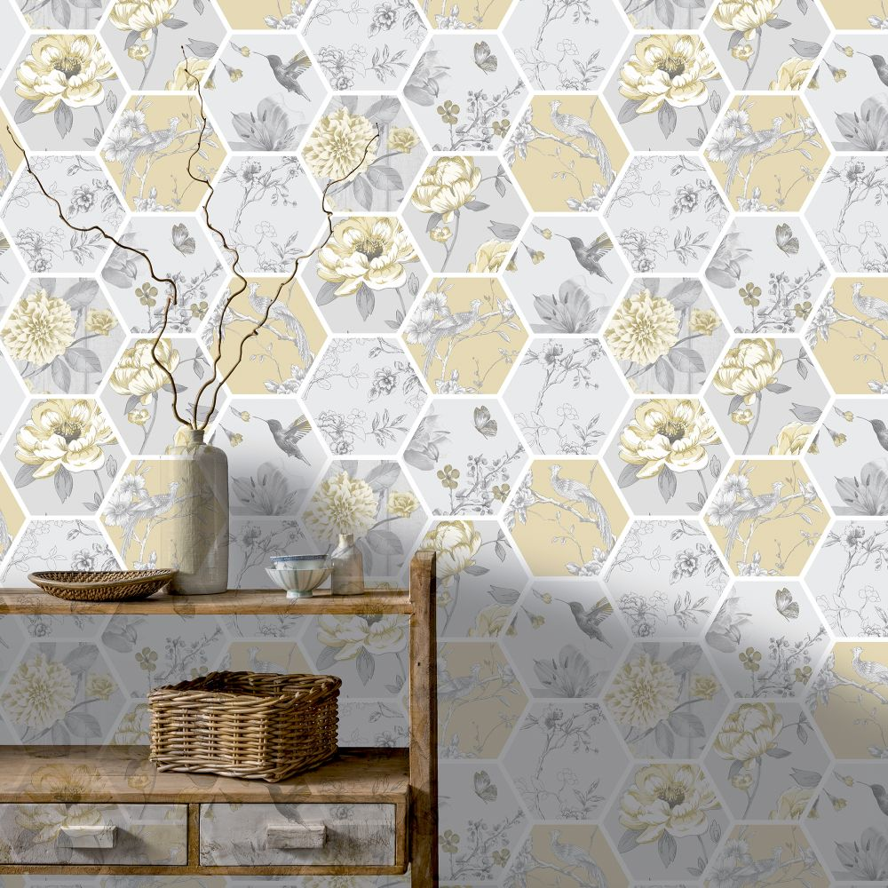 Chinoise Decoupage    Wallpaper - Ochre - by Arthouse