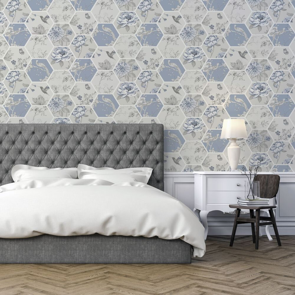 Chinoise Decoupage    Wallpaper - Blue - by Arthouse