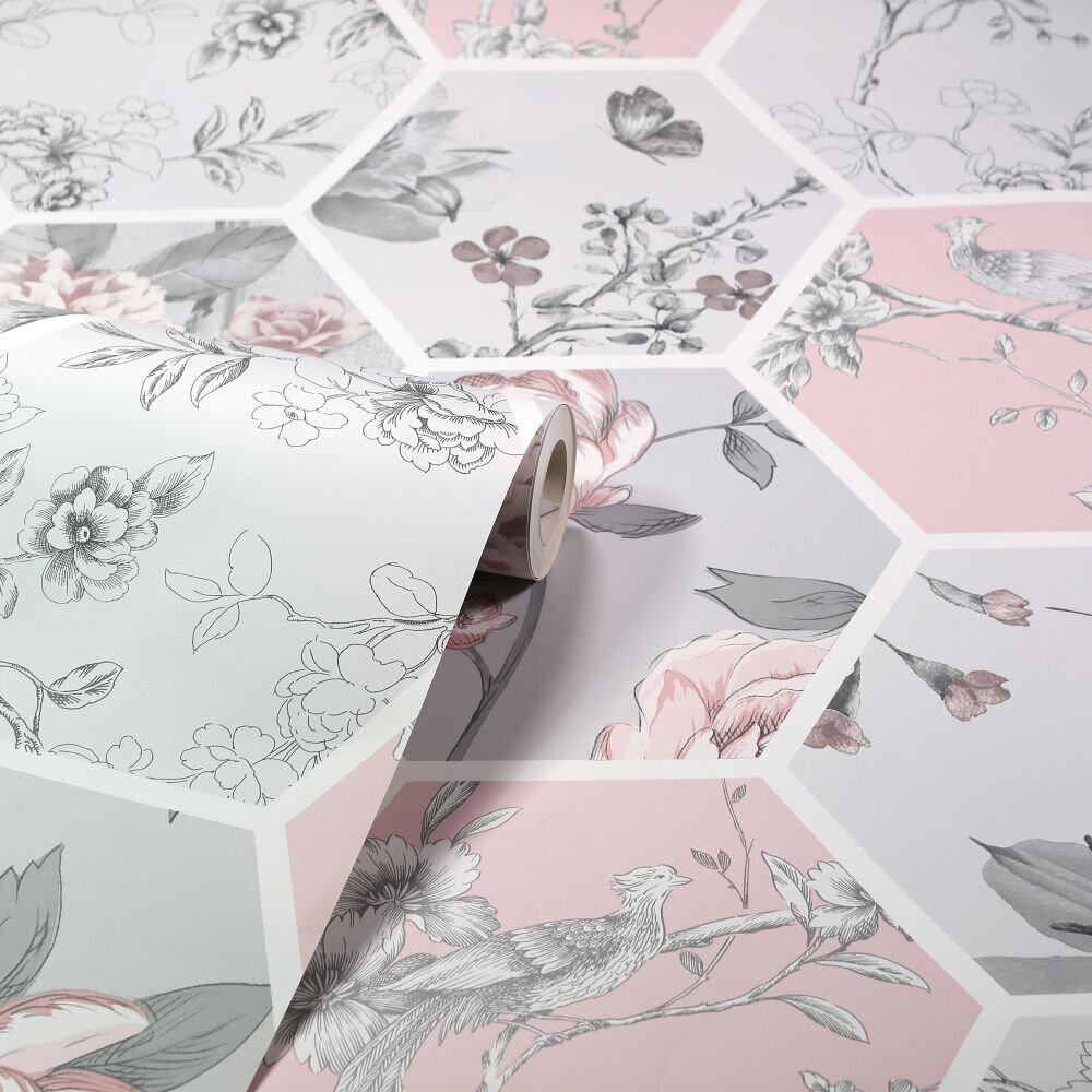 Chinoise Decoupage    Wallpaper - Pink - by Arthouse