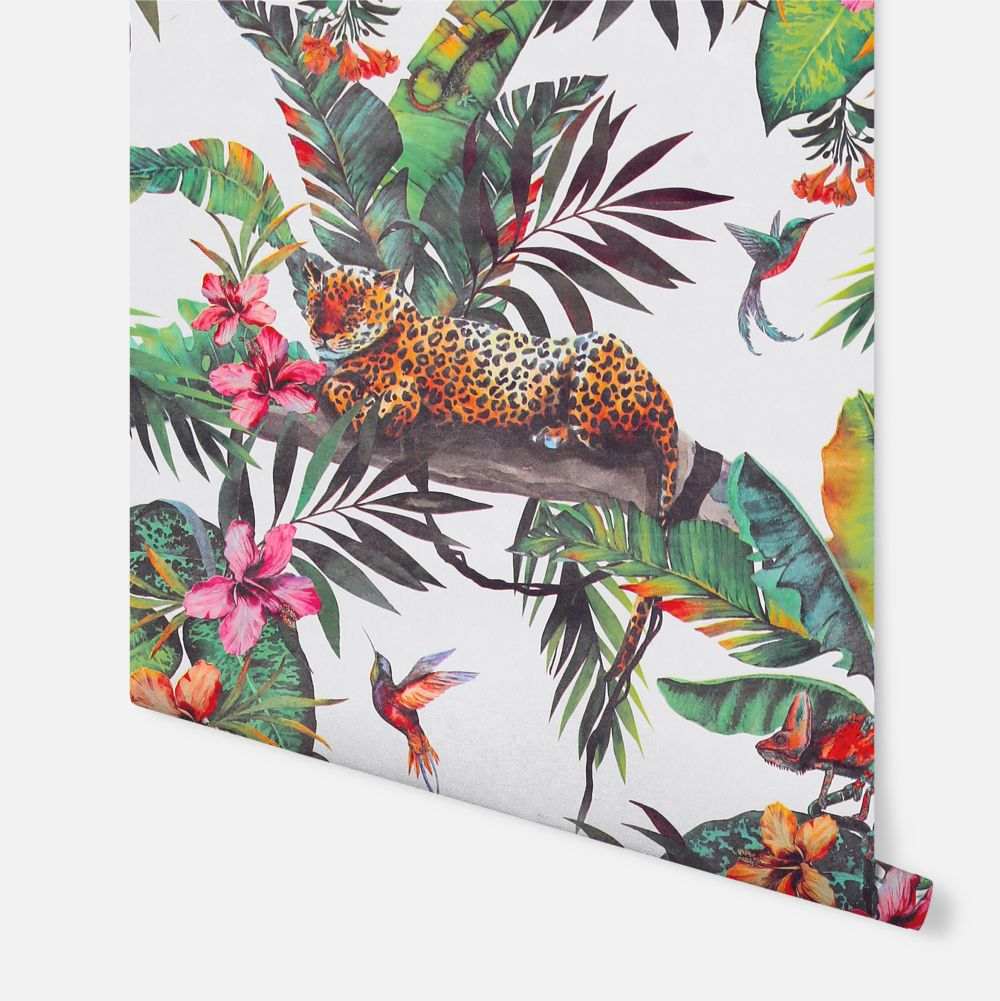 Animal Jungle White  Wallpaper - Multi - by Arthouse