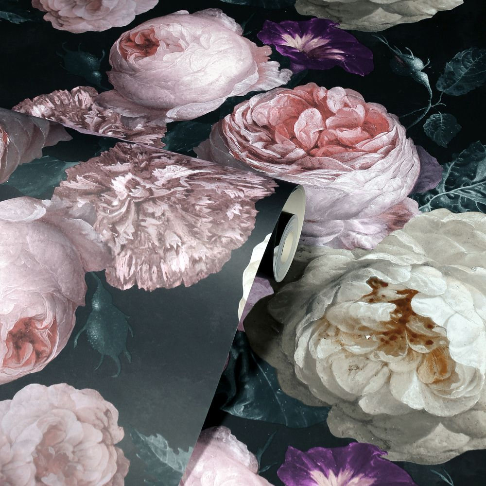 Highgrove Floral  Wallpaper - Charcoal - by Arthouse