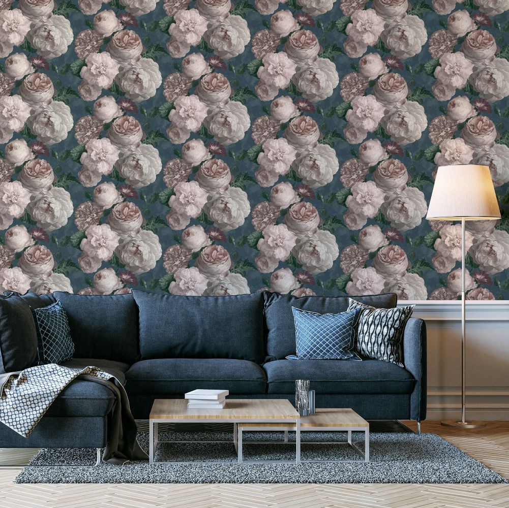 Highgrove Floral  Wallpaper - Teal - by Arthouse