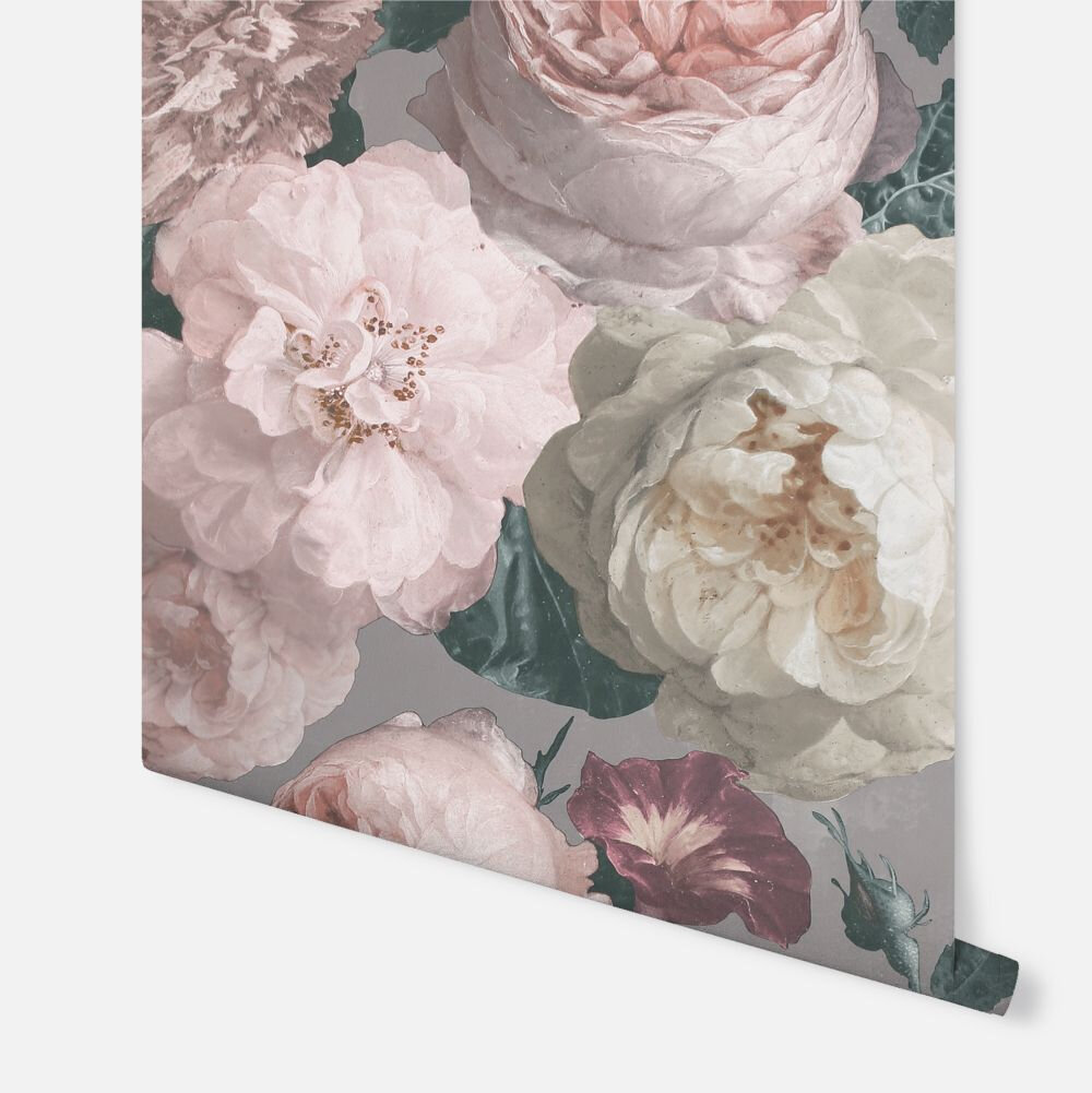 Highgrove Floral  Wallpaper - Warm Grey - by Arthouse