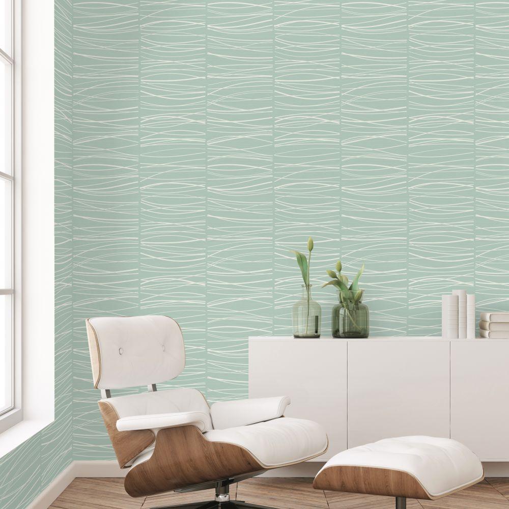 Wavy Lines Wallpaper - Aqua - by SK Filson