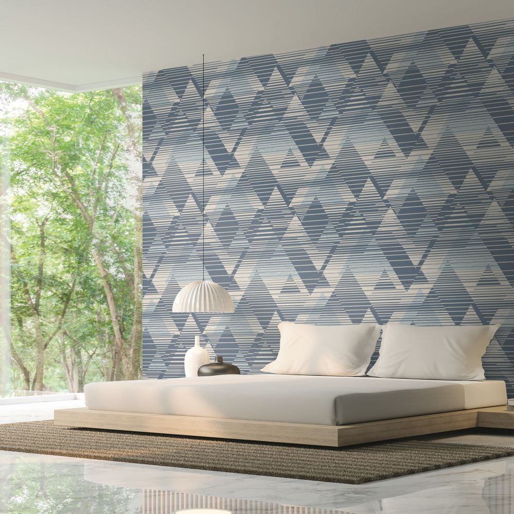 Prism Wallpaper - Navy - by SK Filson