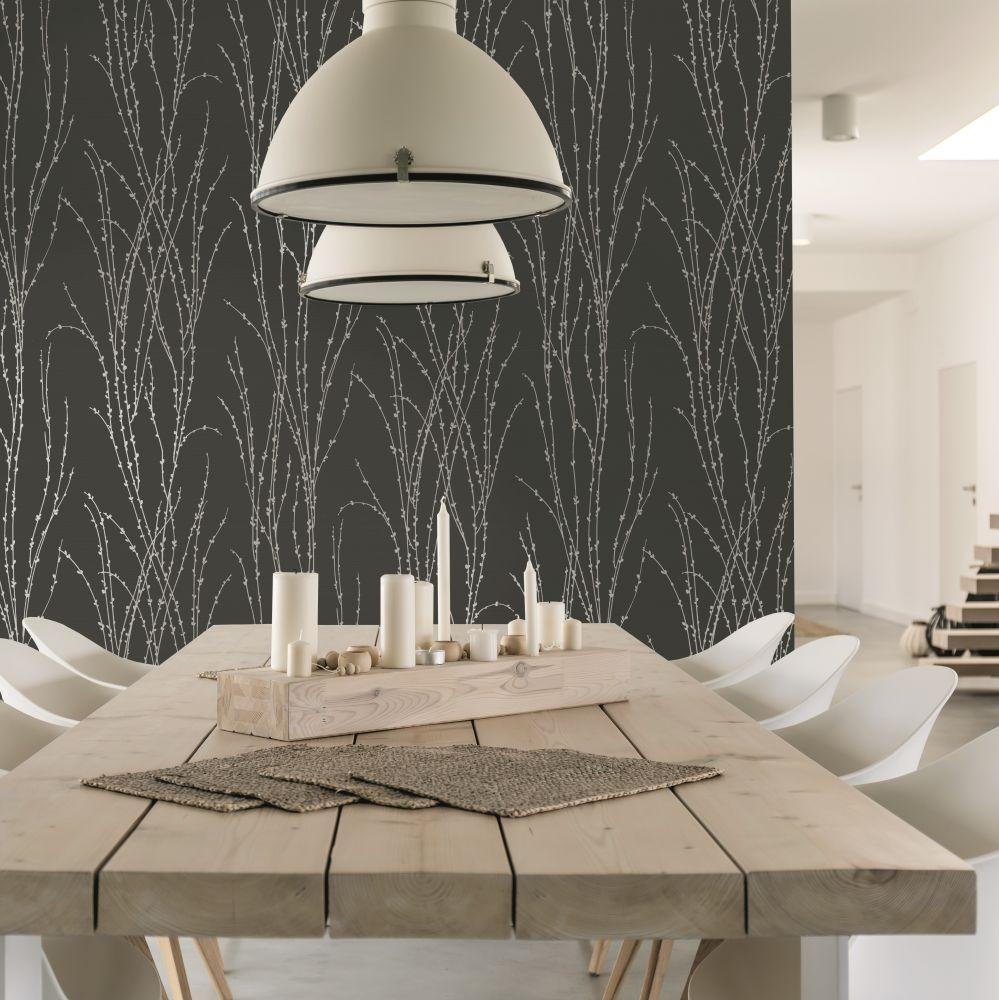 Botanical Fern Wallpaper - Black - by SK Filson
