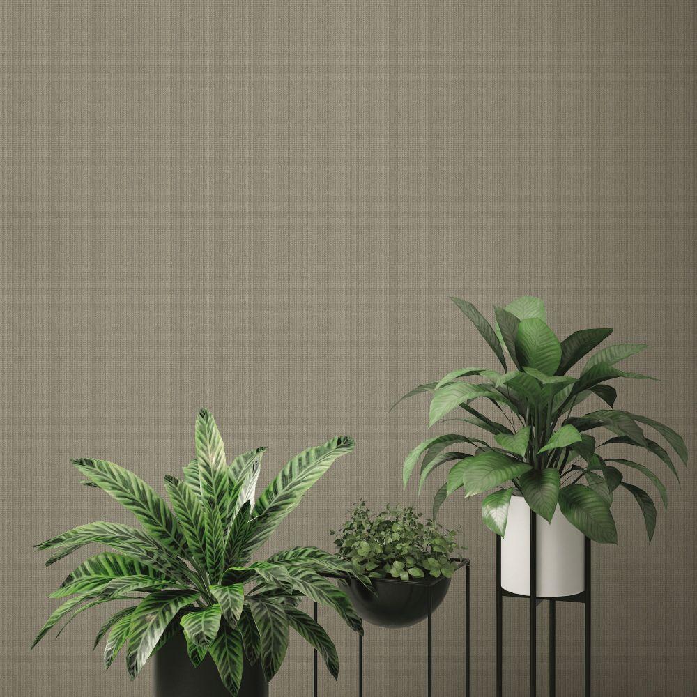 Linen Plains Wallpaper - Brown - by SK Filson