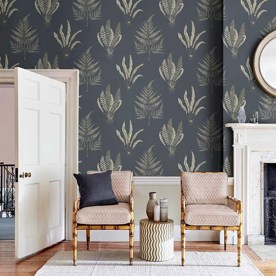 Woodland Ferns Wallpaper - Indigo Light - by Sanderson