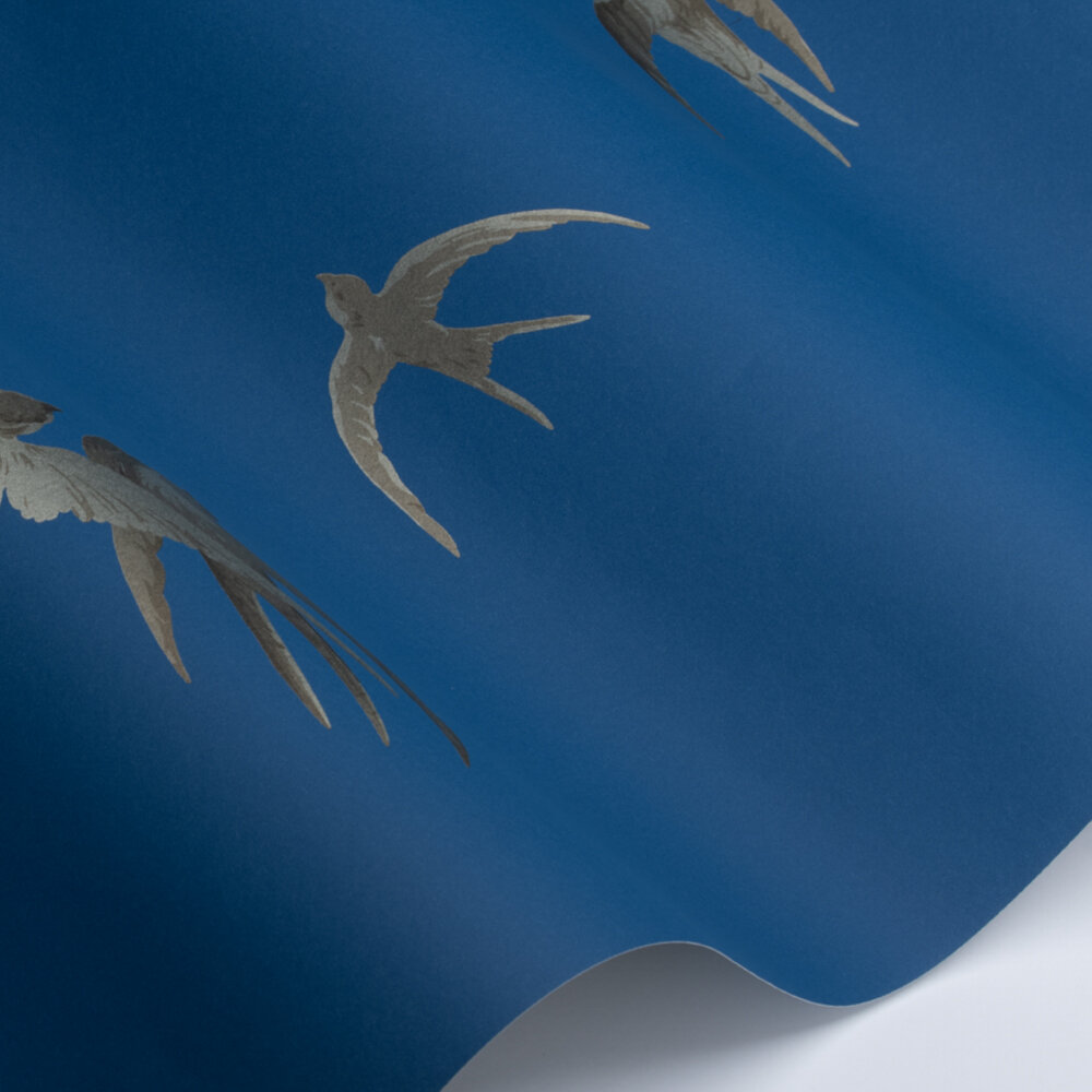 Swallows Wallpaper - French Blue - by Sanderson