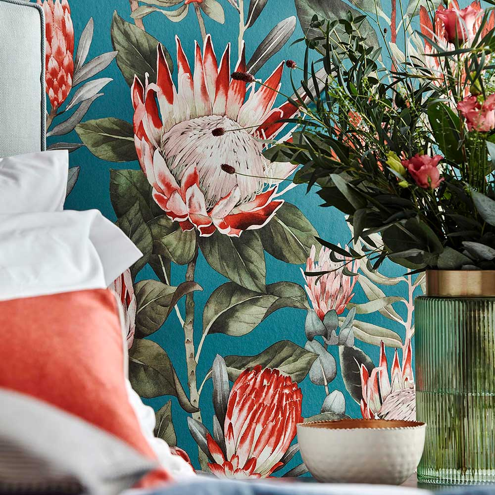 King Protea Wallpaper - Fire Coral / Chasm  - by Sanderson