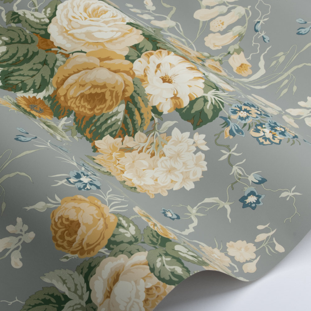 Stapleton Park Wallpaper - Gull Grey / Gold - by Sanderson
