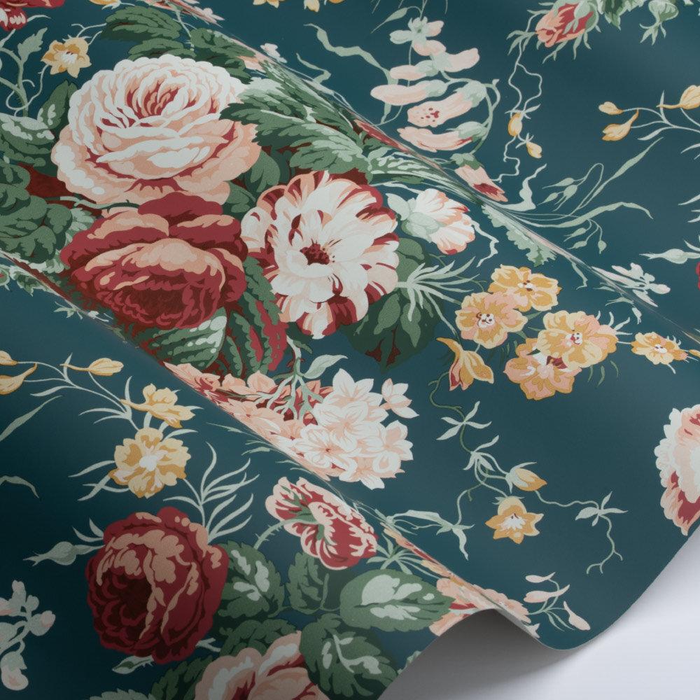 Stapleton Park Wallpaper - Newby Green / Raspberry - by Sanderson