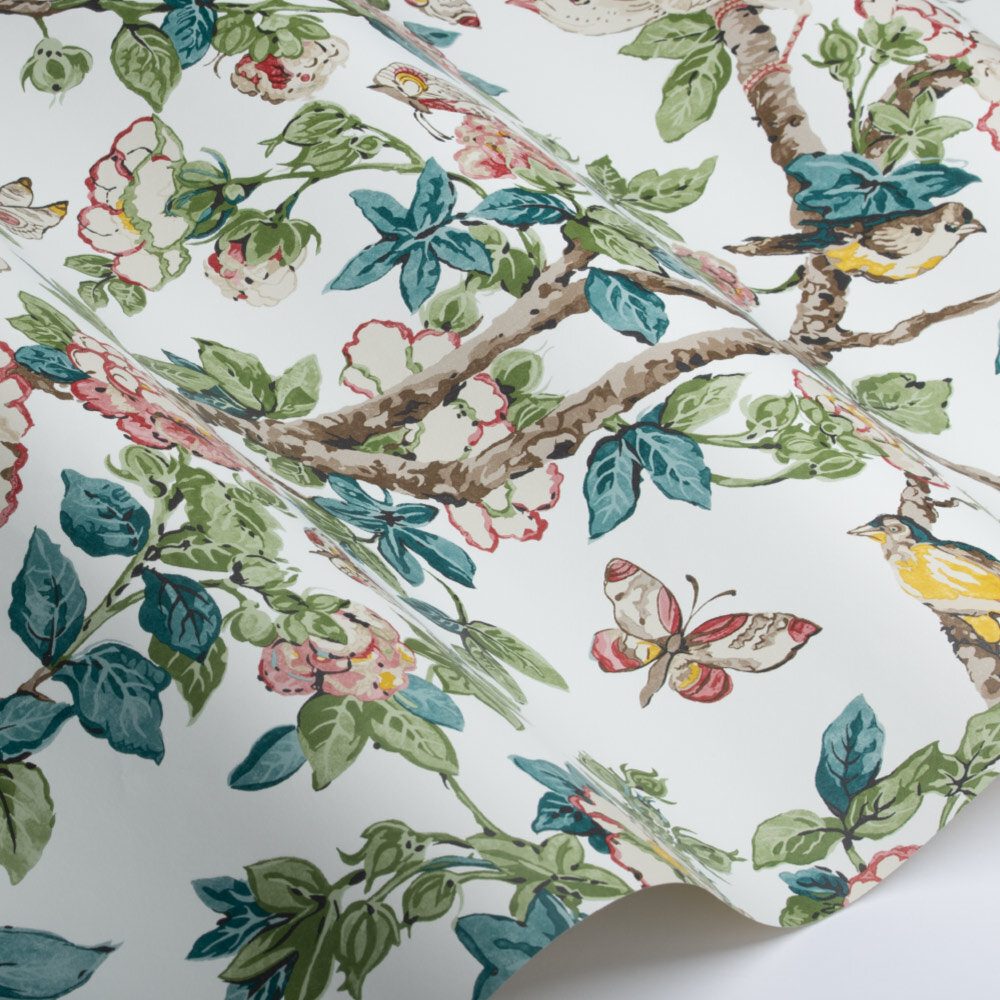 Caverley Wallpaper - Peony Red / Green - by Sanderson