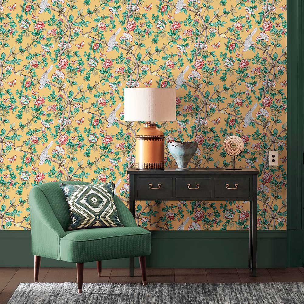 Caverley Wallpaper - Chinese Yellow - by Sanderson
