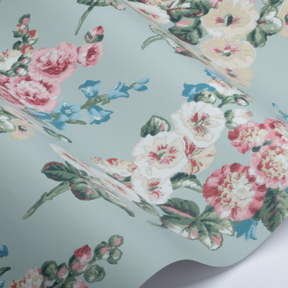 Hollyhocks Wallpaper - Whitstable Blue / Carmen - by Sanderson