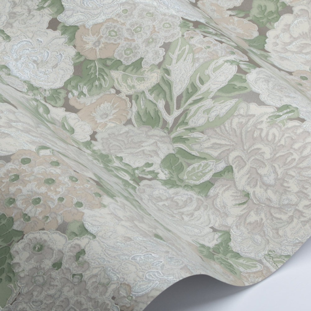 Rose & Peony Wallpaper - Metallic / Ivory - by Sanderson