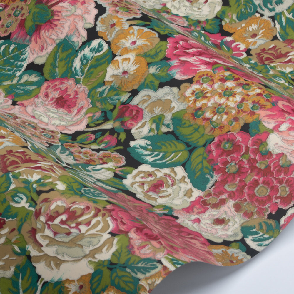 Rose & Peony Wallpaper - Cerise / Viridian - by Sanderson