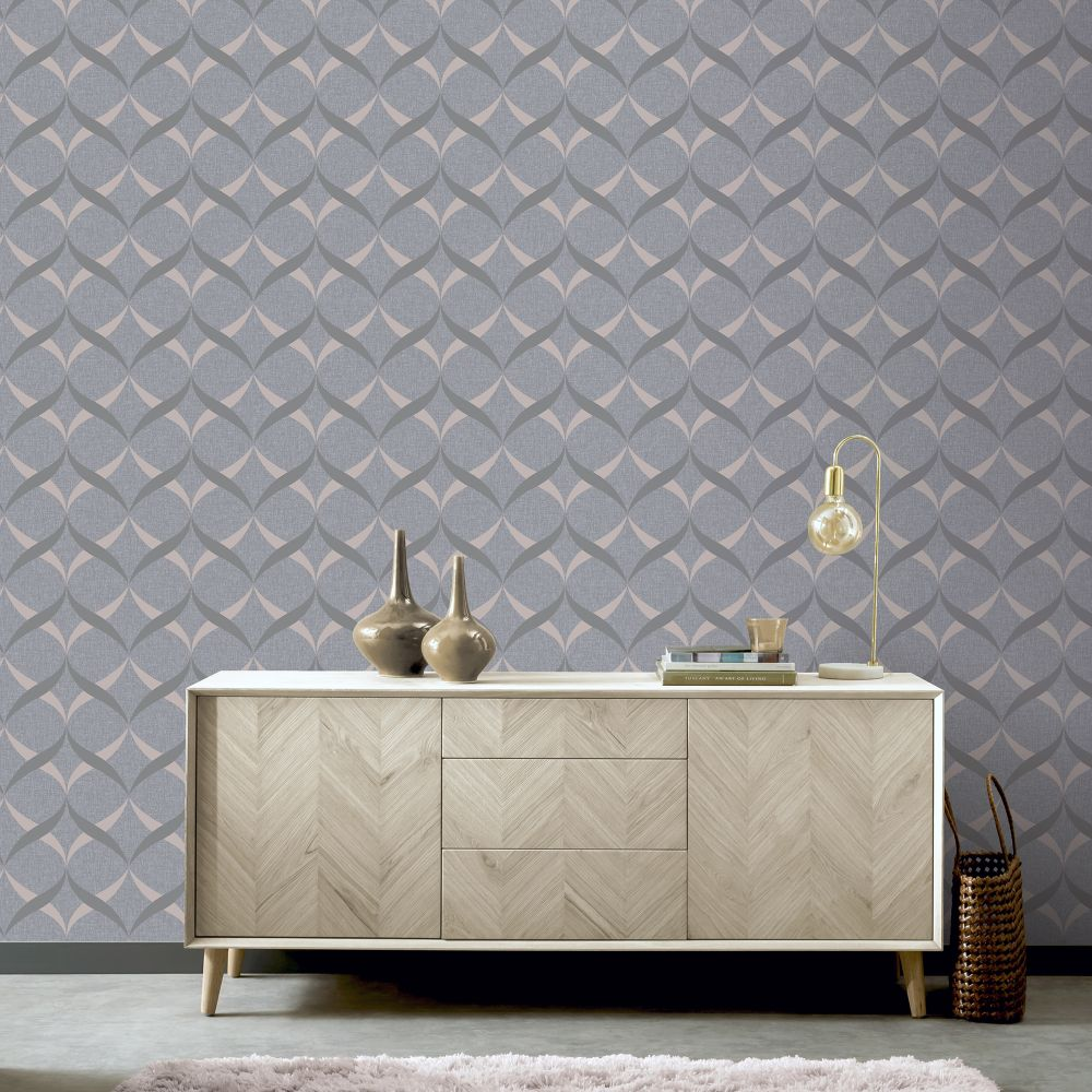 Metallic Ogee Wallpaper - Charcoal / Rose Gold - by Arthouse