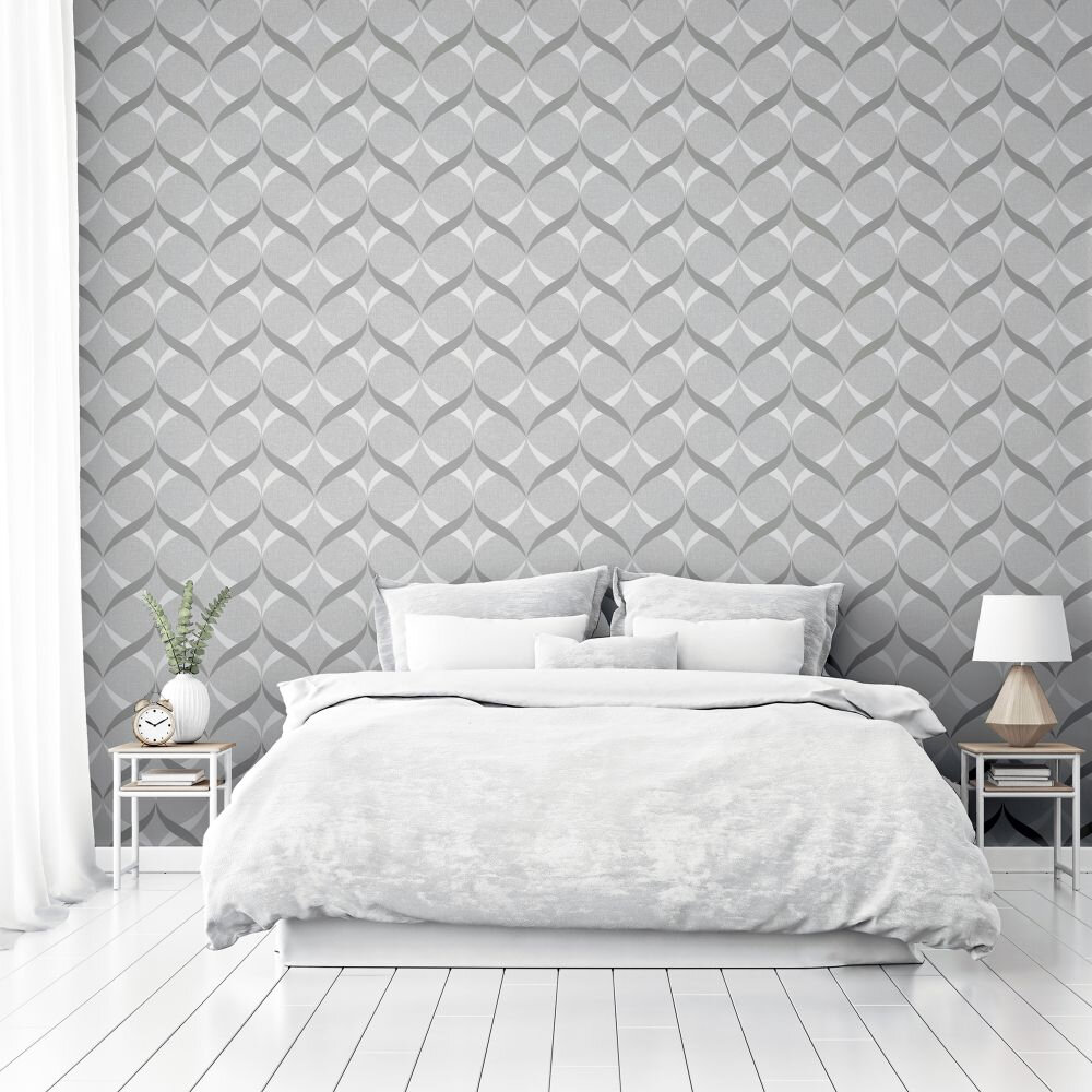 Metallic Ogee           Wallpaper - Silver - by Arthouse