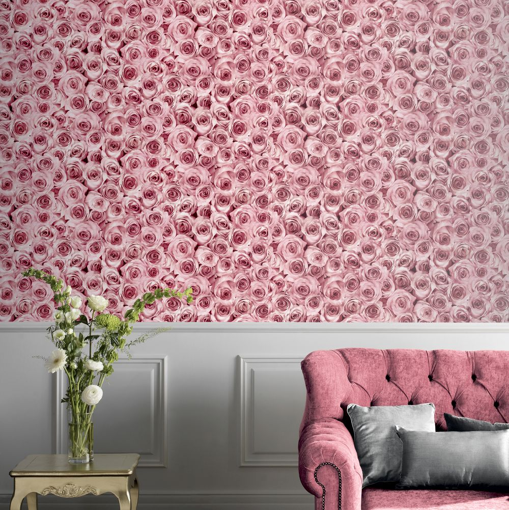 Rose Wall  Wallpaper - Raspberry - by Arthouse