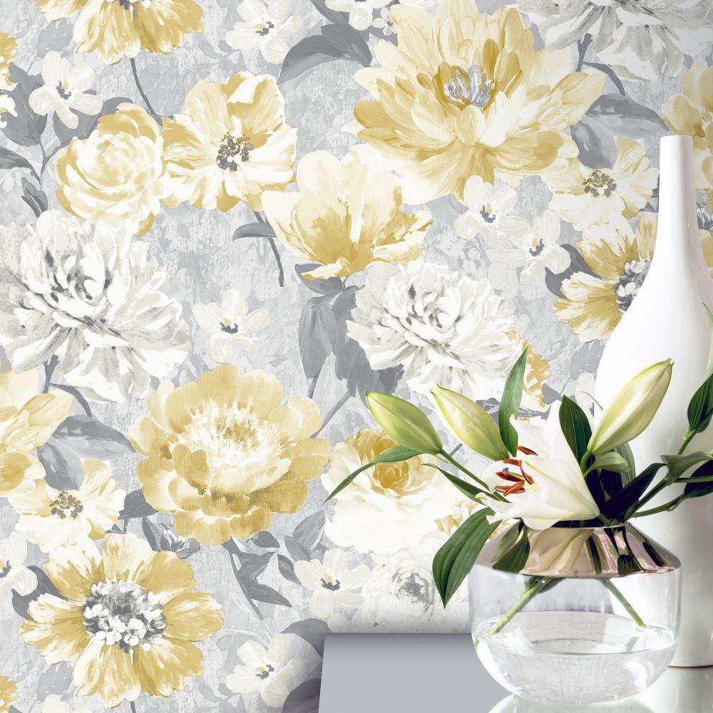 Aubrey Floral  Wallpaper - Ochre - by Arthouse