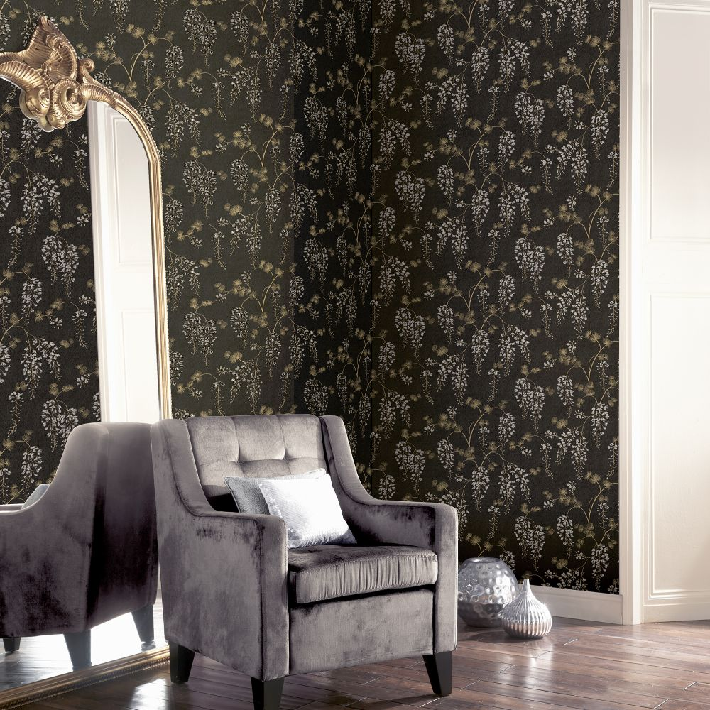 Wisterial Floral  Wallpaper - Black / Gold - by Arthouse