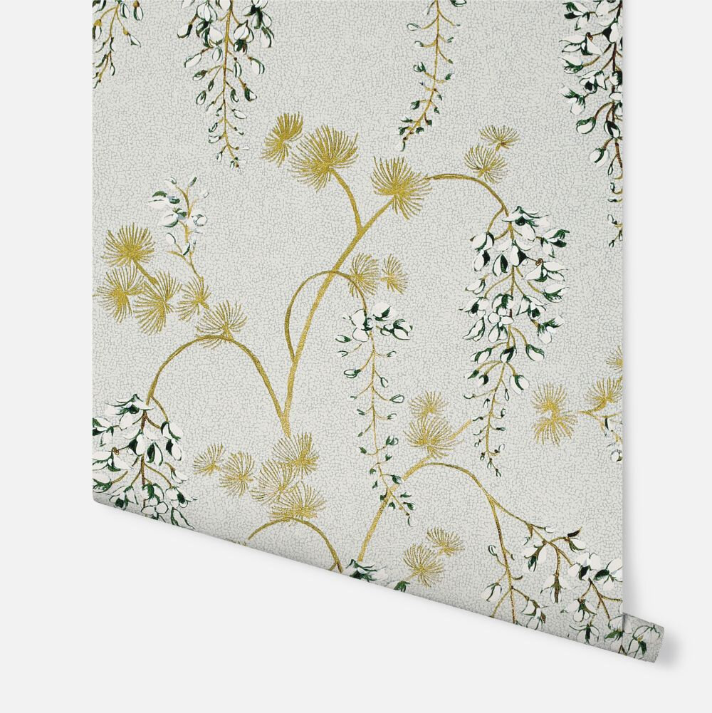 Wisterial Floral  Wallpaper - Neutral / Gold - by Arthouse