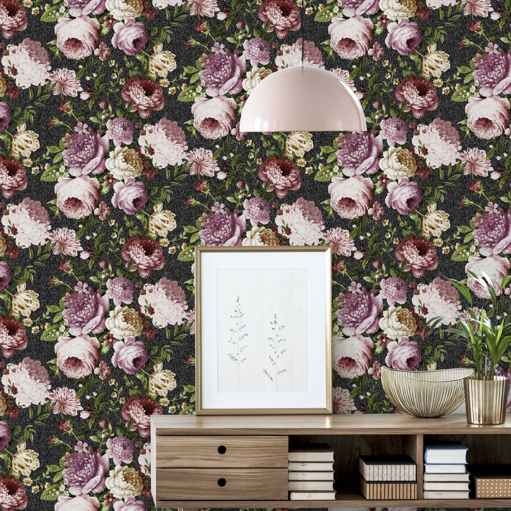 Tapestry Floral  Wallpaper - Charcoal / Pink - by Arthouse