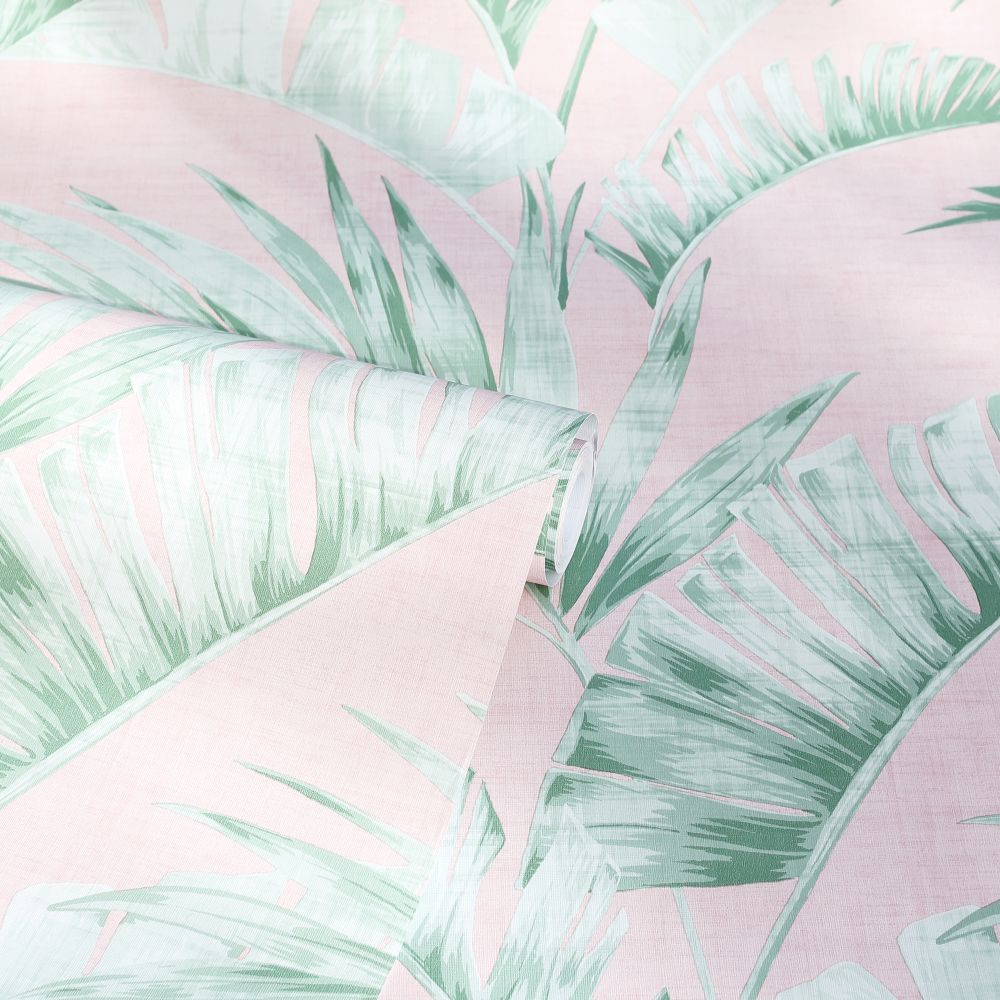 Banana Palm  Wallpaper - Pink / Green - by Arthouse