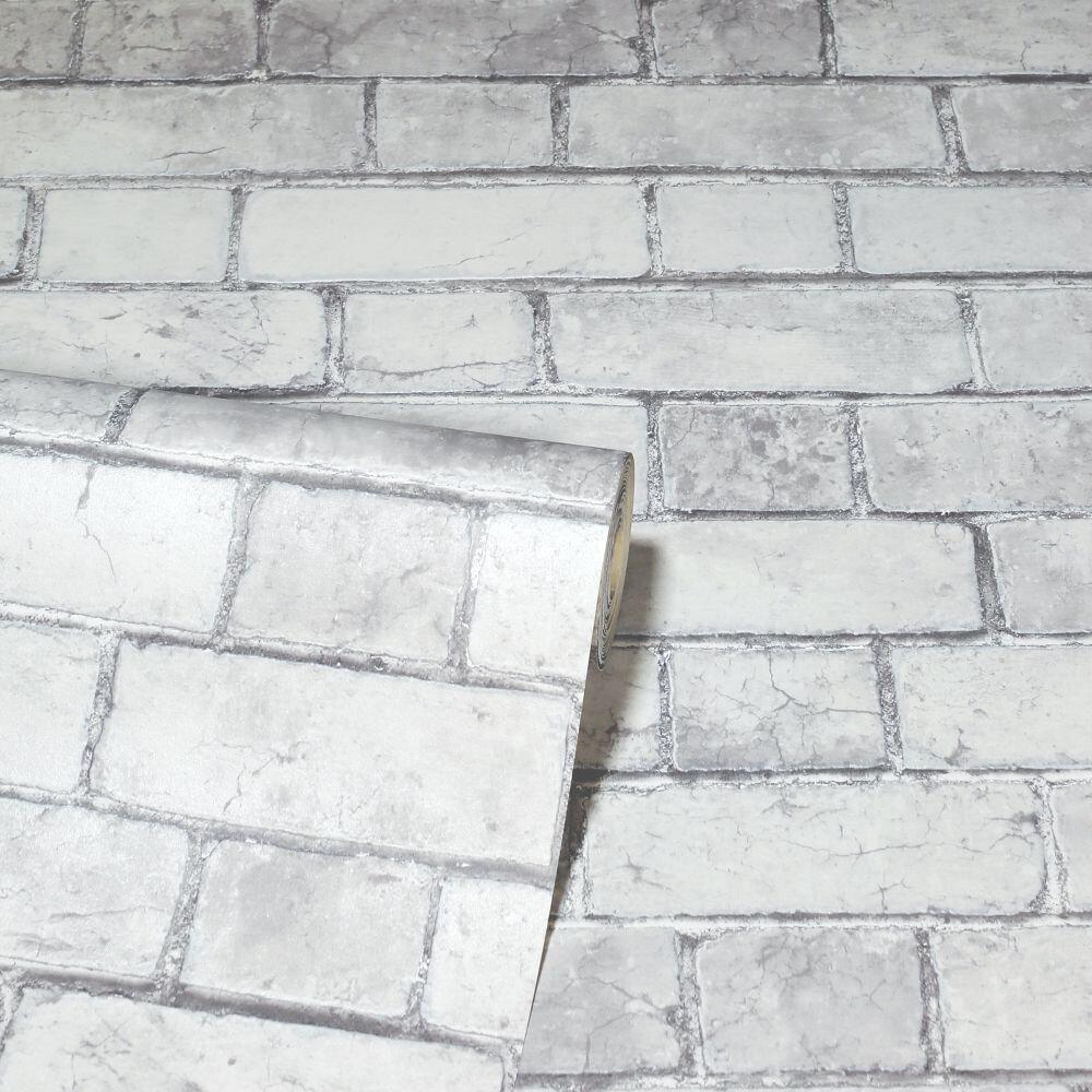 Brickwork  Wallpaper - White - by Arthouse