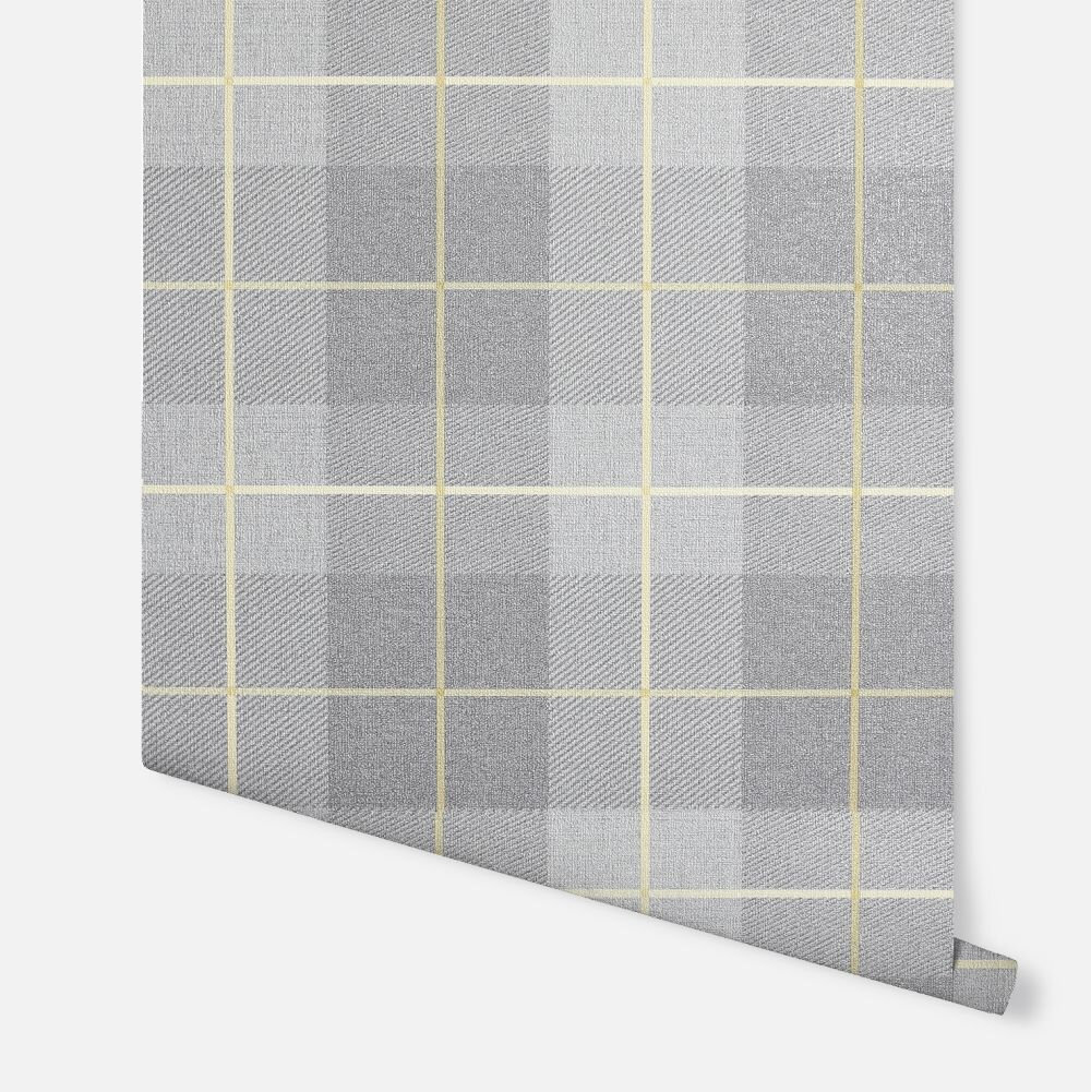 Heritage Tartan  Wallpaper - Ochre / Grey - by Arthouse