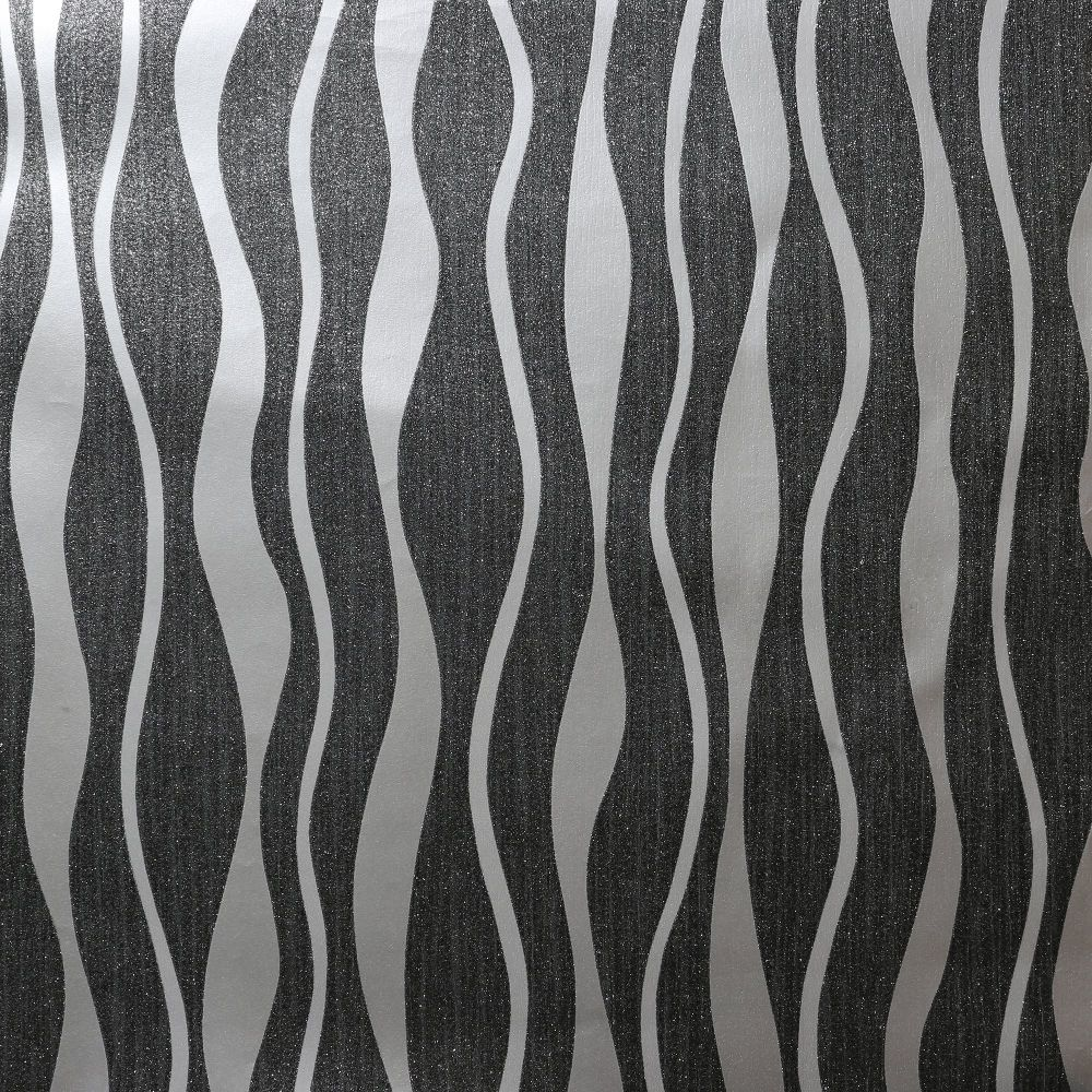 Metallic Wave Wallpaper - Black - by Arthouse