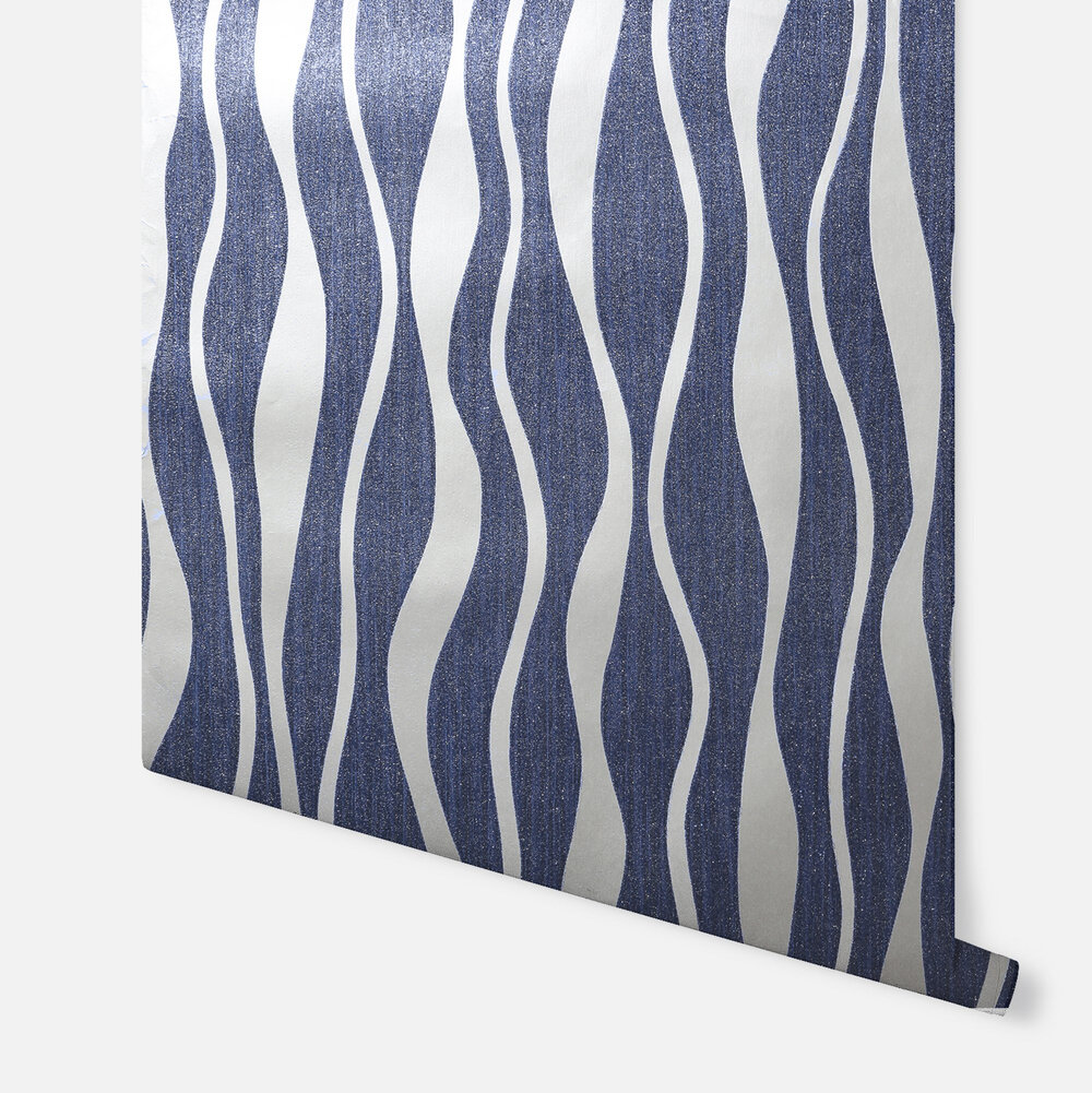 Metallic Wave Wallpaper - Navy - by Arthouse