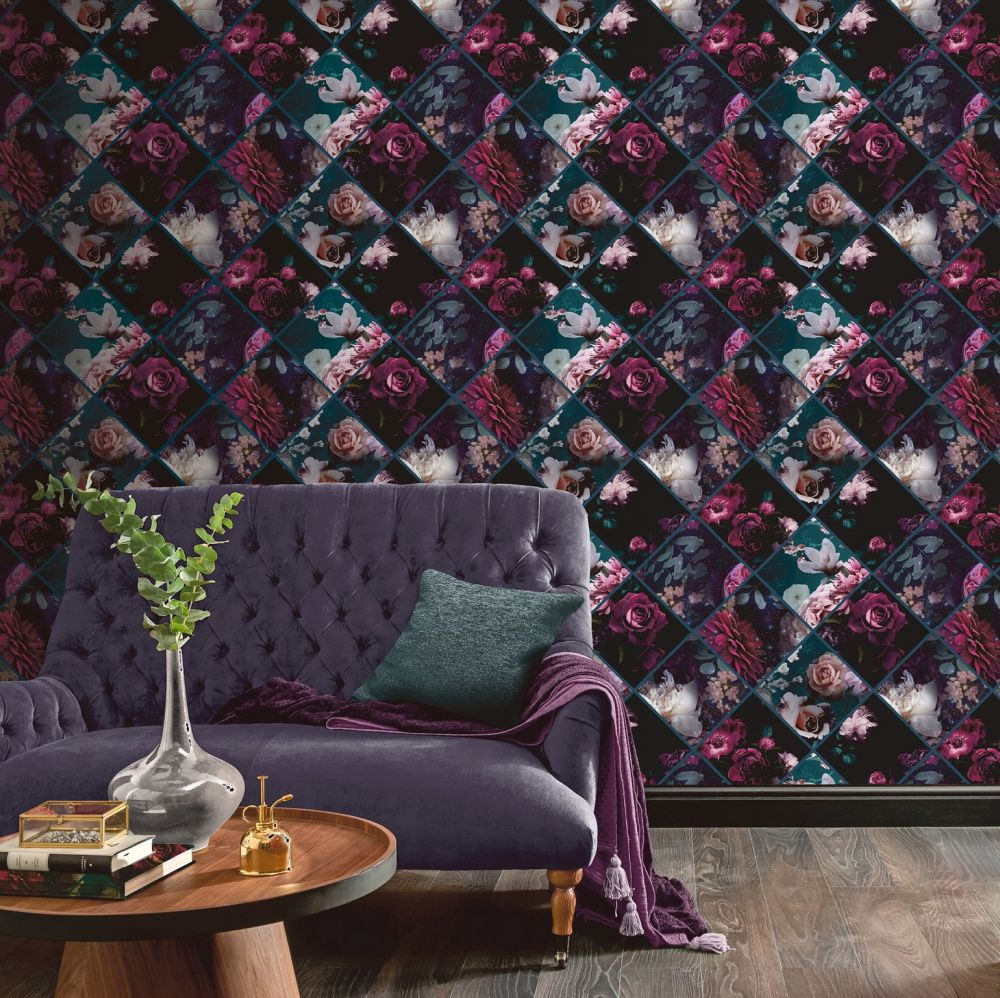Floral Collage  Wallpaper - Plum - by Arthouse