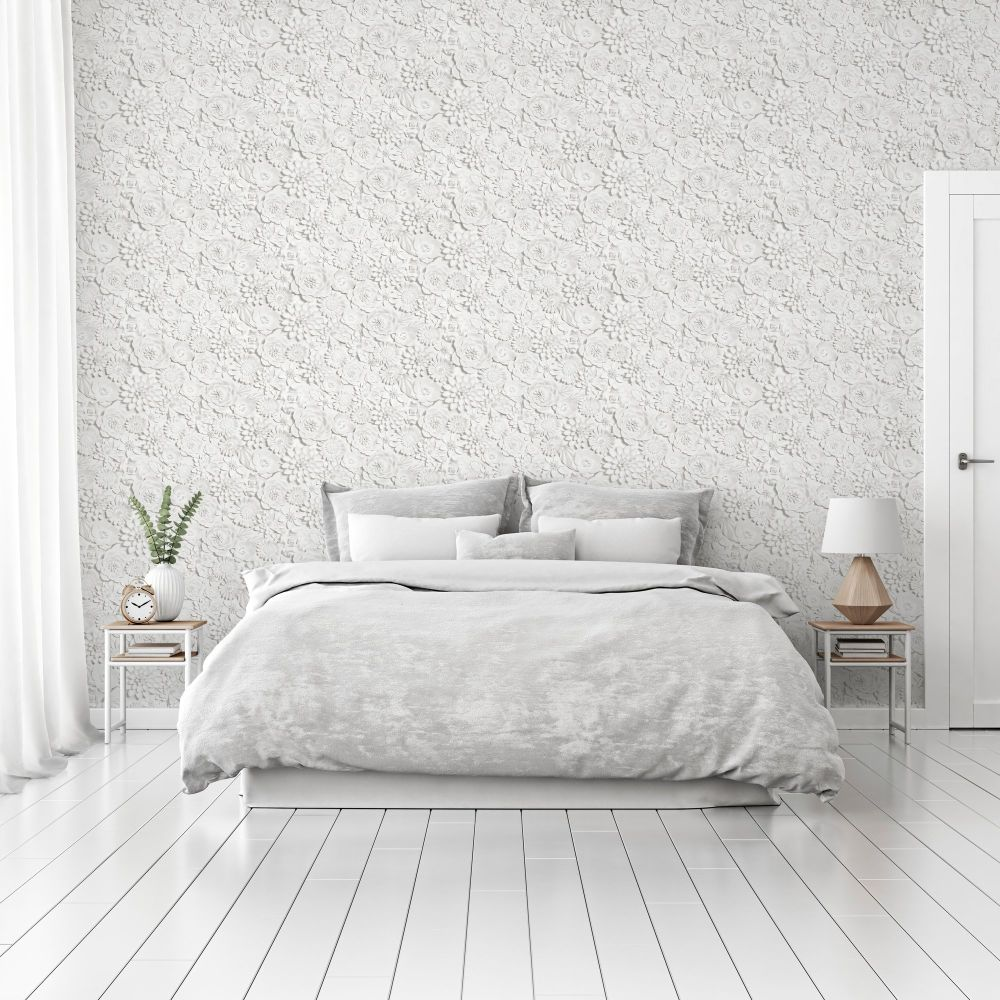 3D Flower Wall  Wallpaper - White - by Arthouse