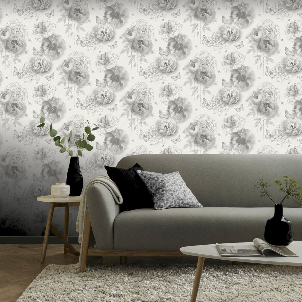 Flower Garden Wallpaper - Mono - by Arthouse