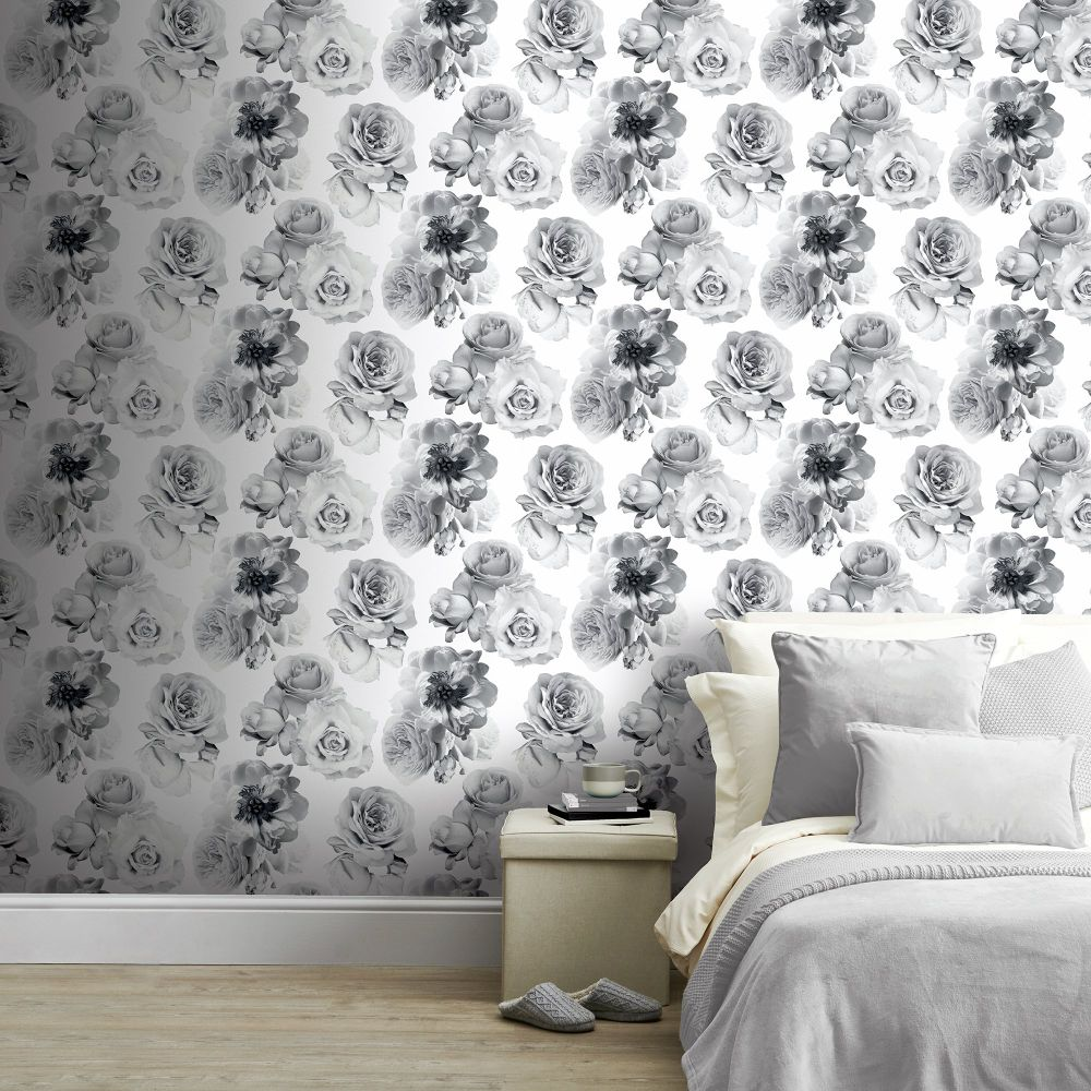 Floral Bloom  Wallpaper - Mono - by Arthouse