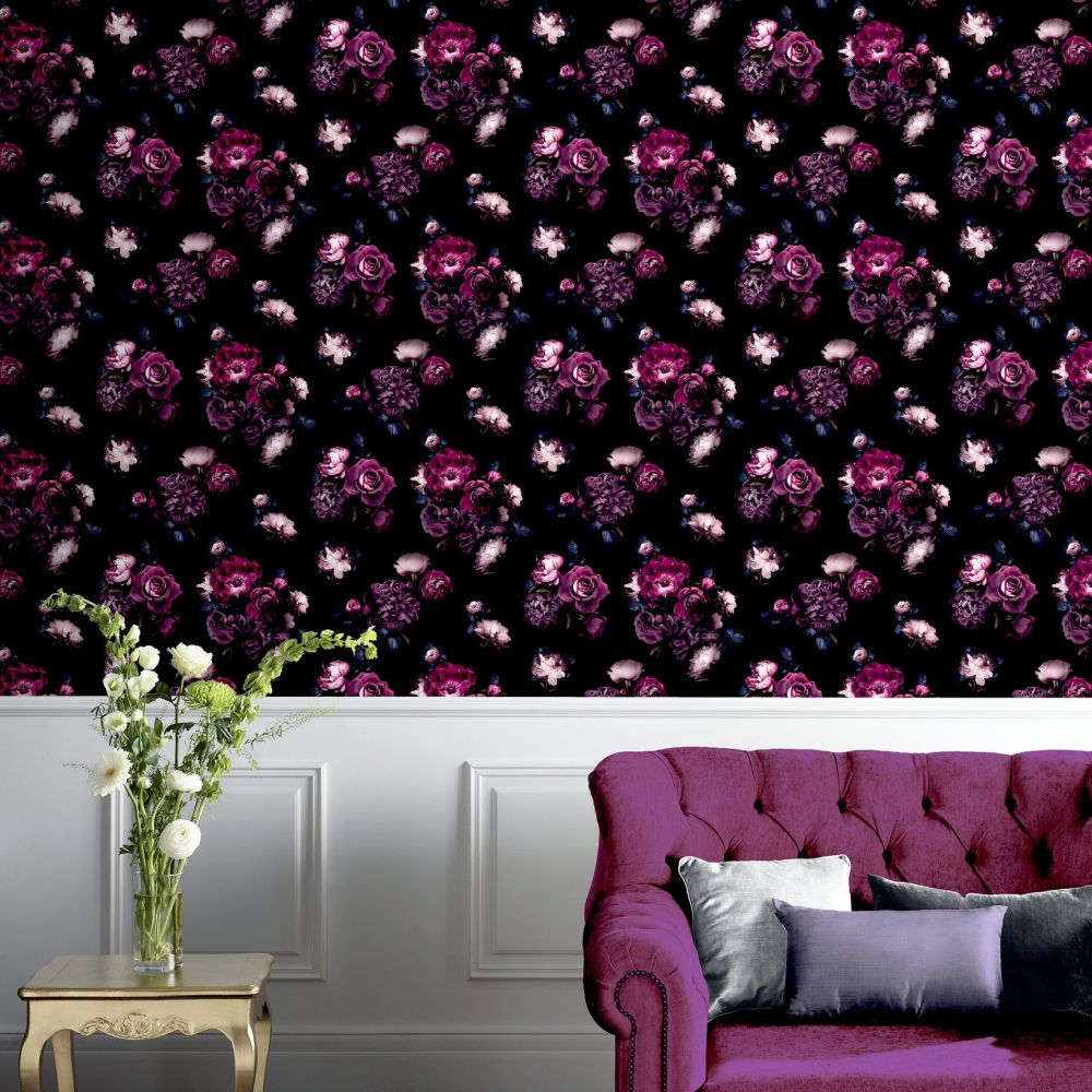 Euphoria Floral Wallpaper - Plum - by Arthouse