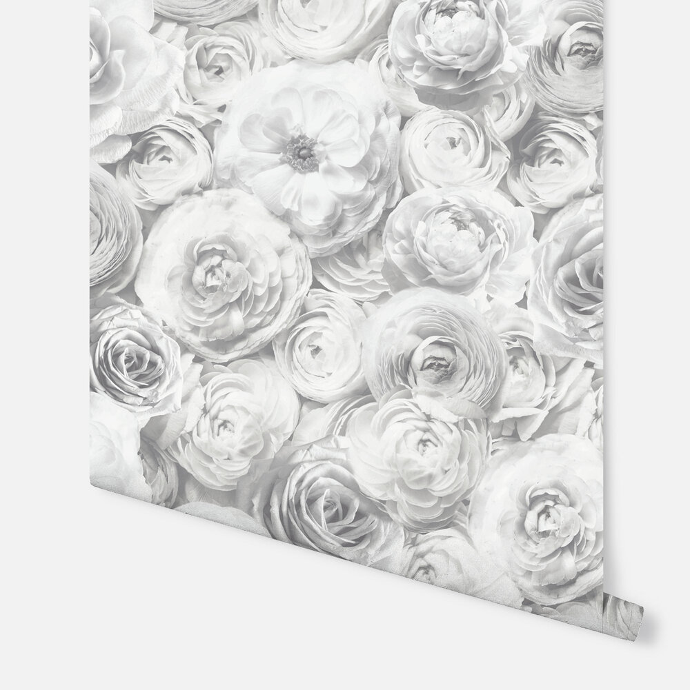 Wild Rose Wallpaper - Silver - by Arthouse