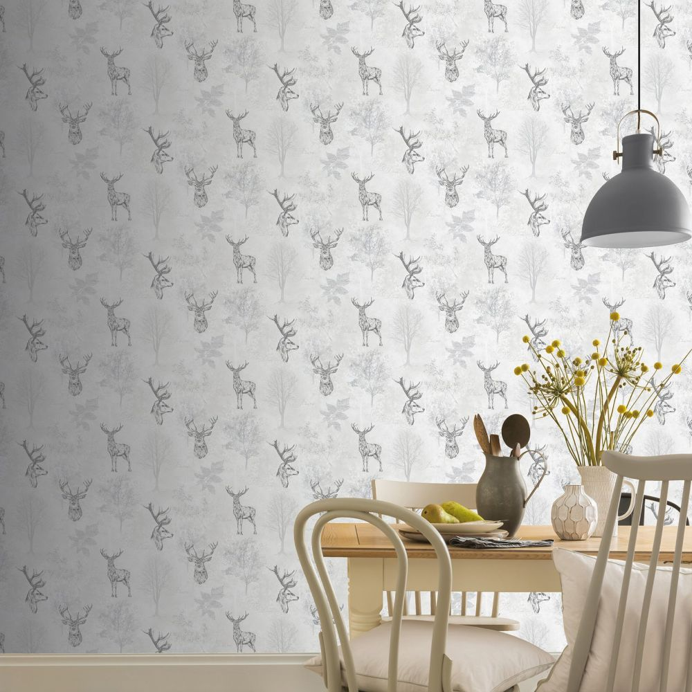 Etched Stag Wallpaper - Mono - by Arthouse