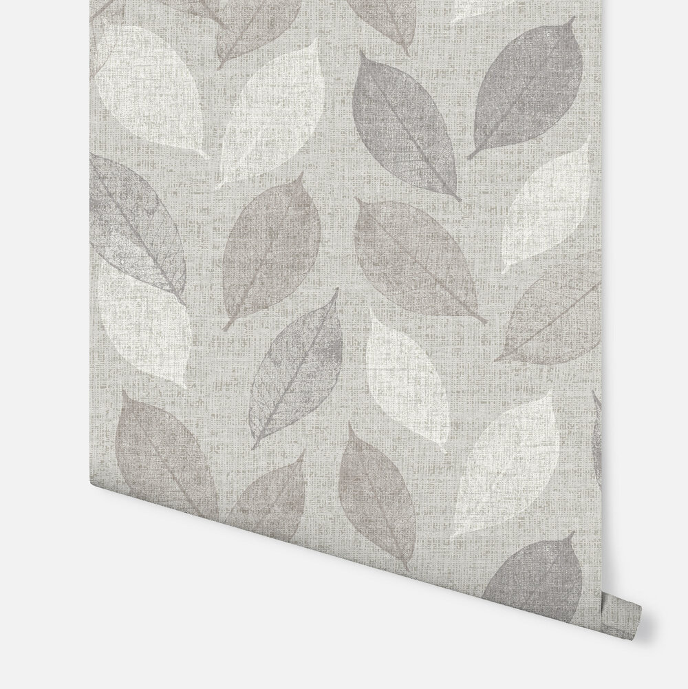 Linen Leaf Wallpaper - Grey - by Arthouse
