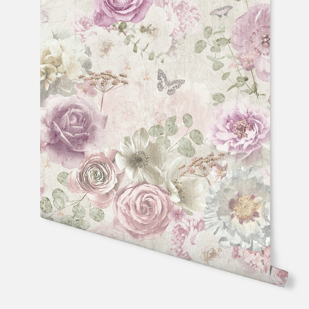 Vintage Floral  Wallpaper - Pink - by Arthouse