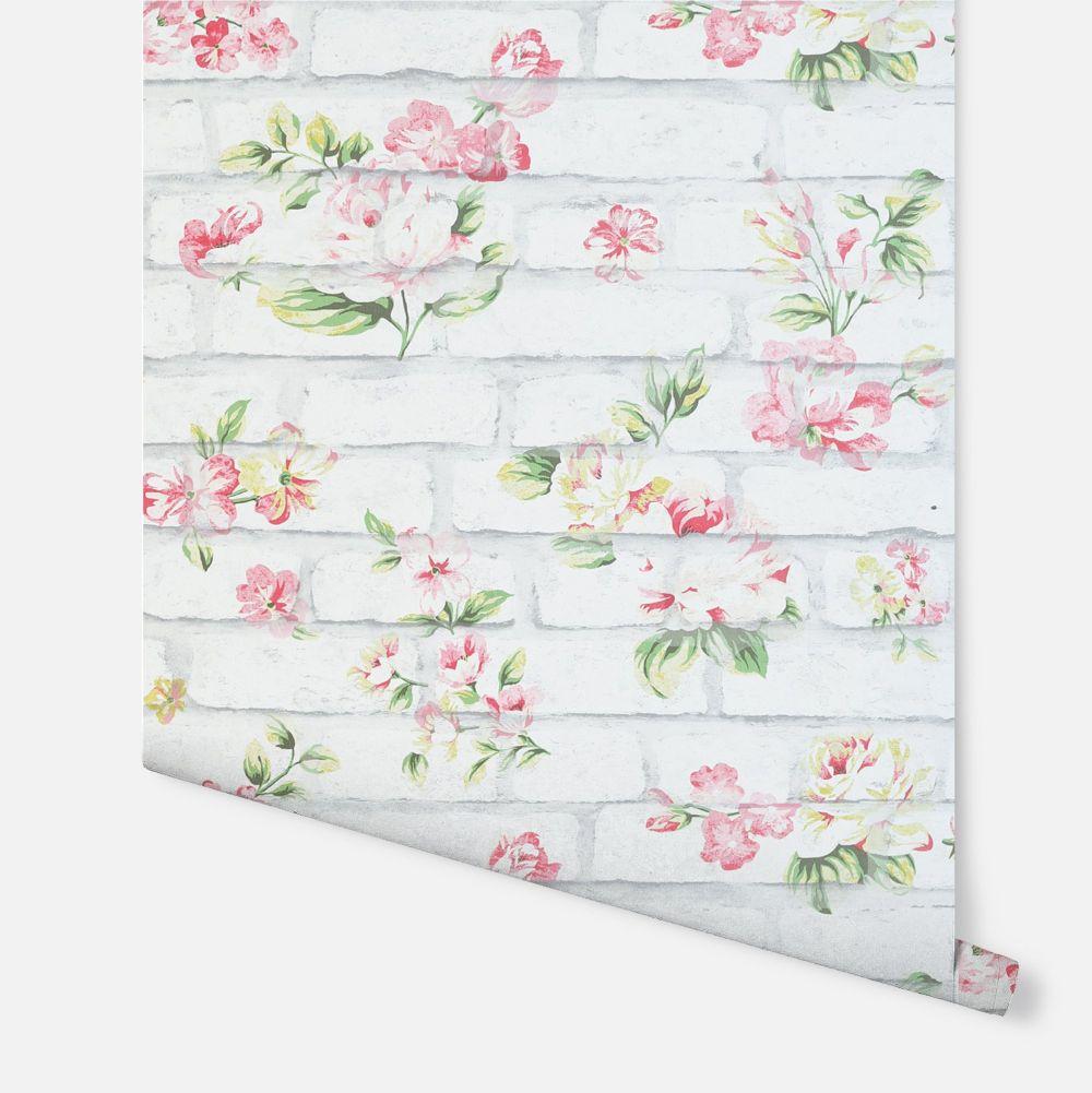Shabby Chic Brick  Wallpaper - White - by Arthouse